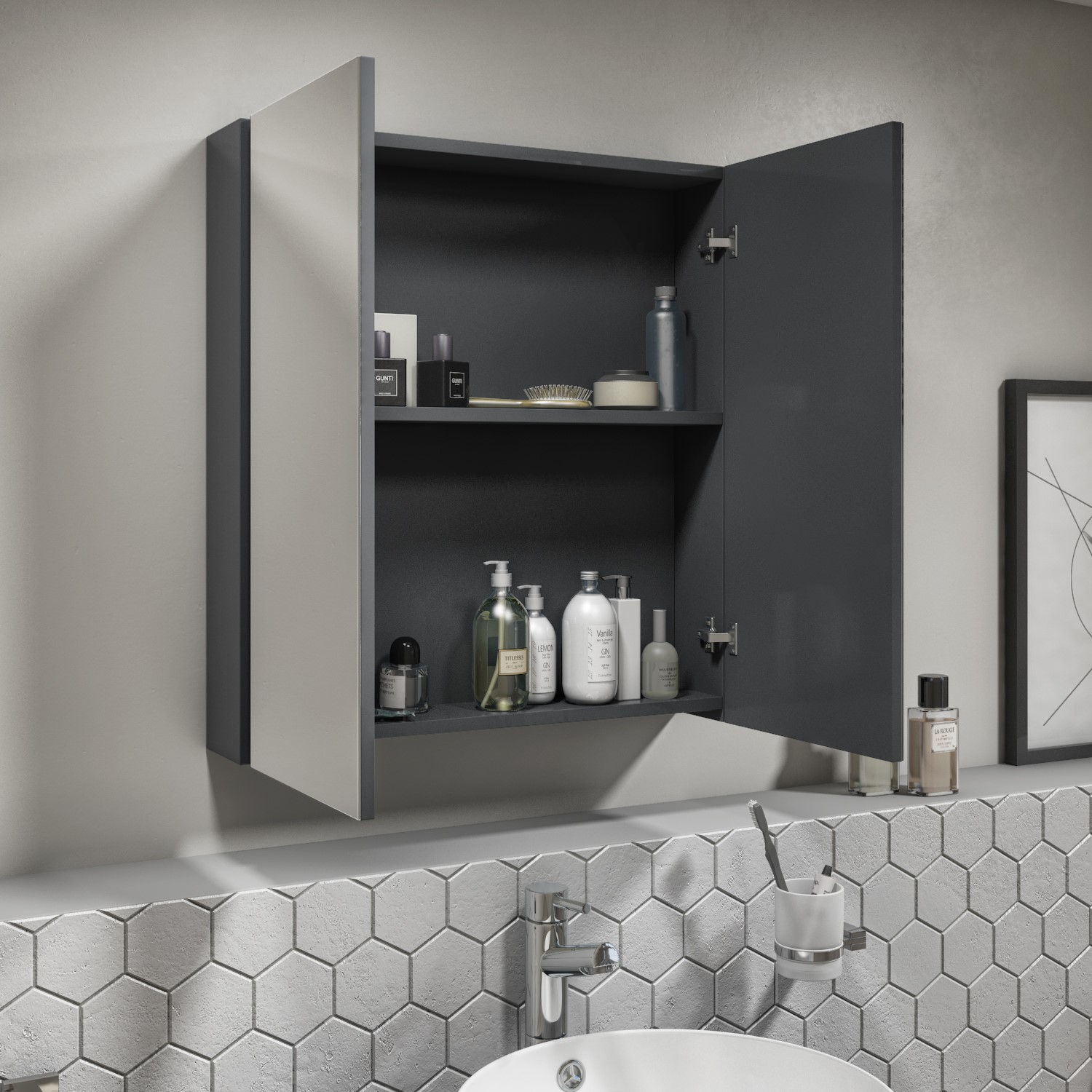 600mm Dark Grey Gloss Wall Hung Mirrored 2 Door Cabinet Portland Better Bathrooms