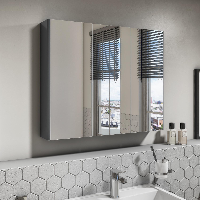 Dark Grey Gloss Wall Hung Mirrored