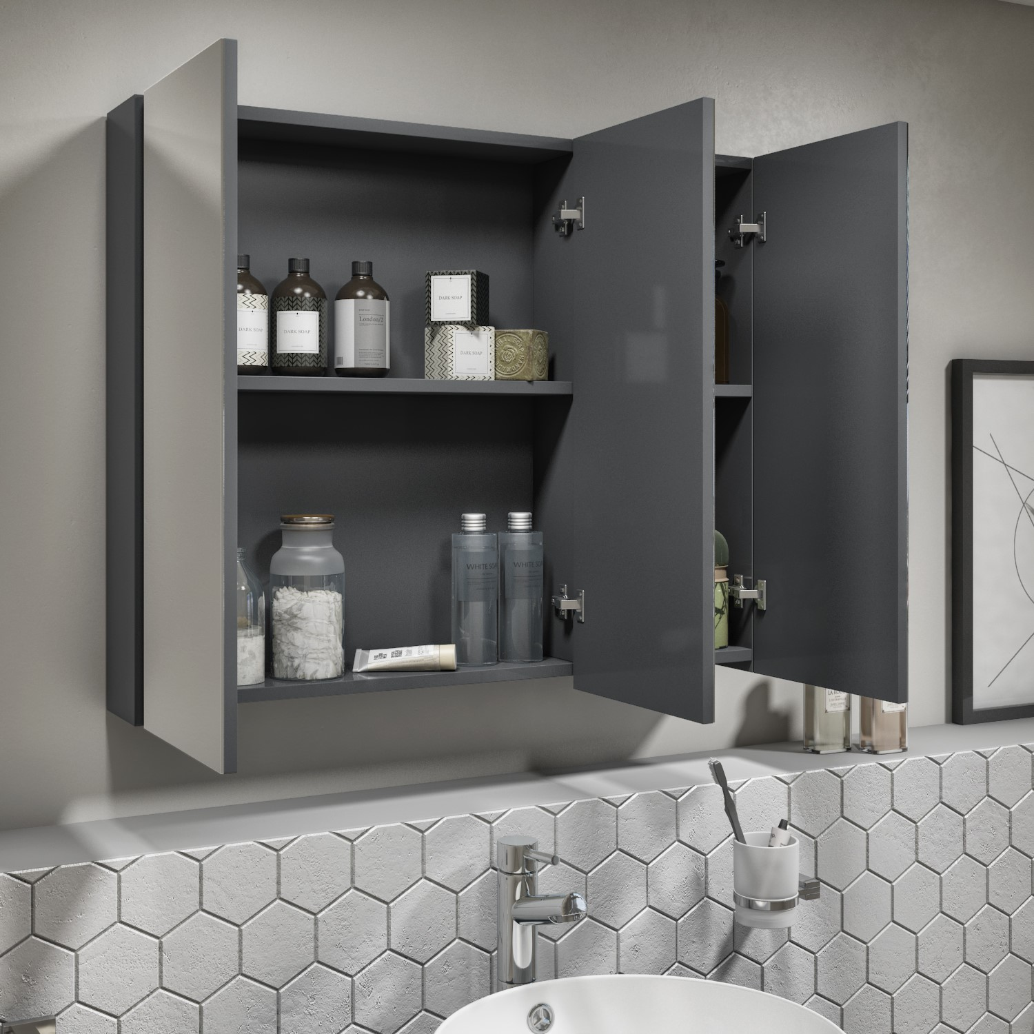 800mm Dark Grey Gloss Wall Hung Mirrored 3 Door Bathroom Cabinet Portland Better Bathrooms