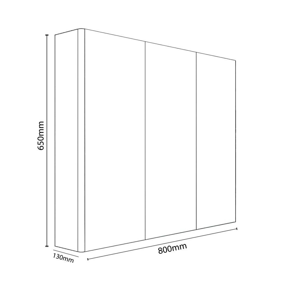 800mm Dark Grey Gloss Wall Hung Mirrored 3 Door Bathroom