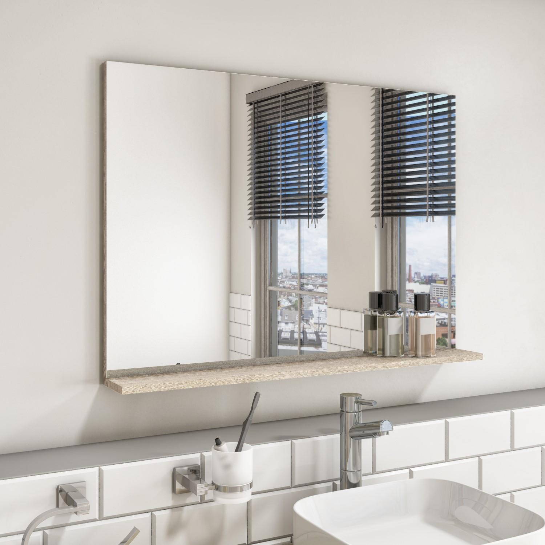 Rectangular Oak Mirror With Shelf 650 X, Oak Framed Bathroom Mirror With Shelf