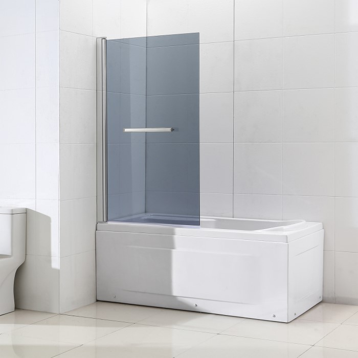 Shower Bath Screen With Smoked Mirrored Panel H1400 X W850mm
