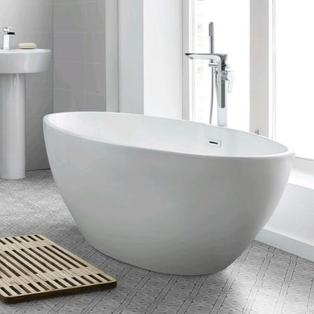 Alvor Matt White Oval Double Ended Freestanding Bath Chrome Waste & Overflow - 1500 x 720mm