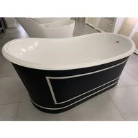 Metropolitan Black & Gold Freestanding Bath - L1676 x W900mm