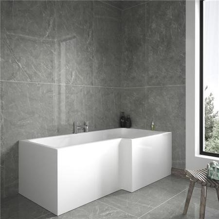 GRADE A1 - L-Shaped Square Right Hand Shower Bath - 1700 x 850mm