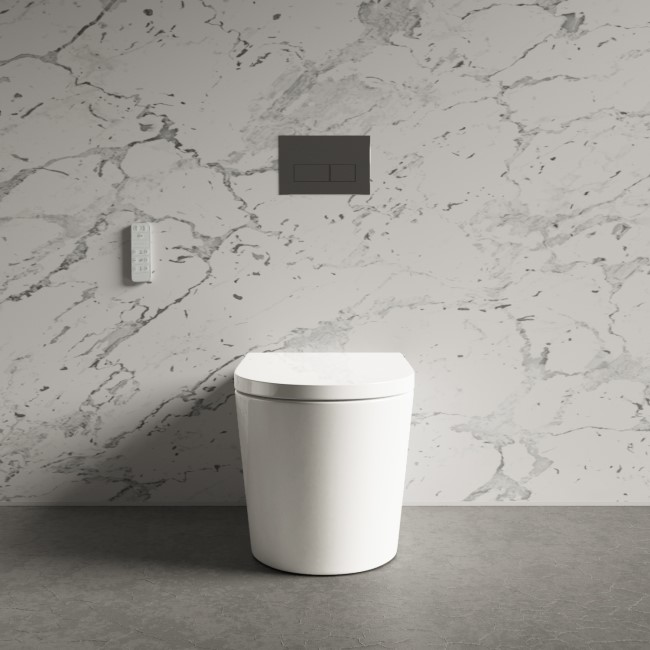 Back to Wall Bidet Toilet Combo - Built in Dryer & Spray-Purificare
