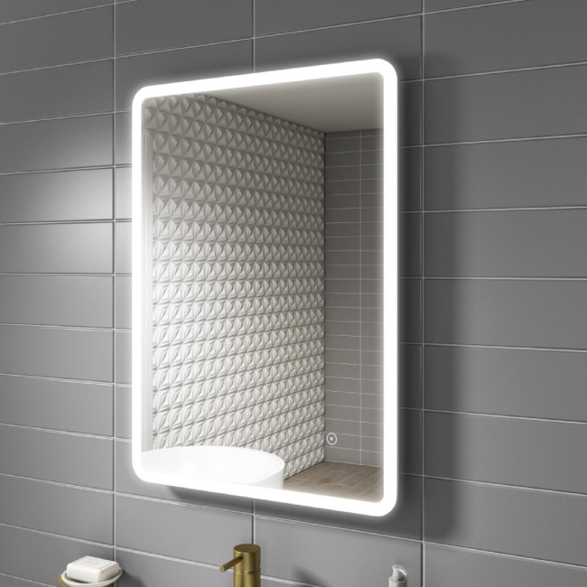 Ariel Illuminated LED Bathroom Mirror with Demister- 500 x 700mm
