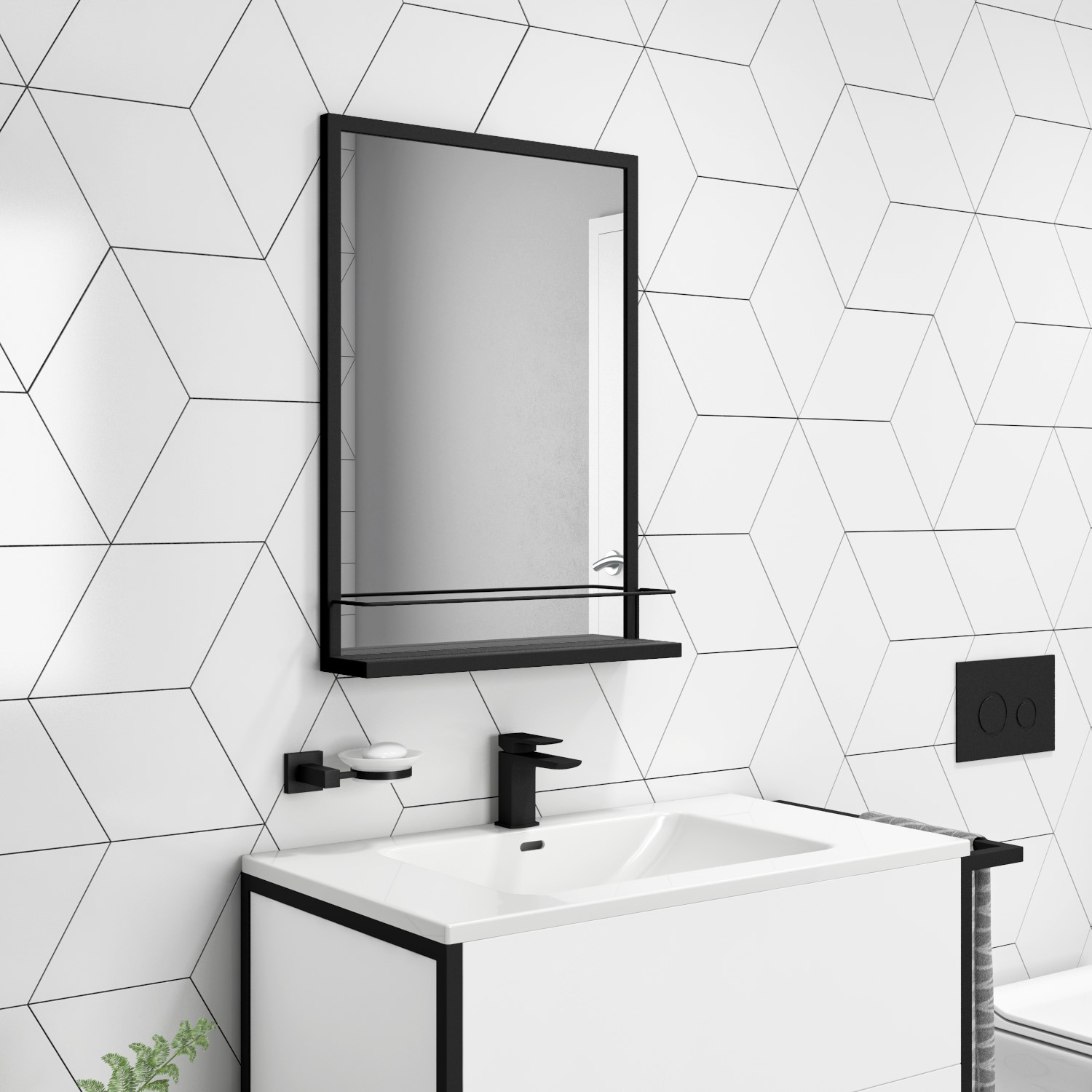 Rectangle Black Frame Mirror With Shelf 500 X 700mm Iona Better Bathrooms