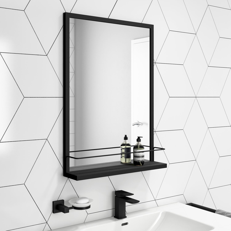 500 X 700mm Rectangle Black Frame Mirror With Shelf Iona