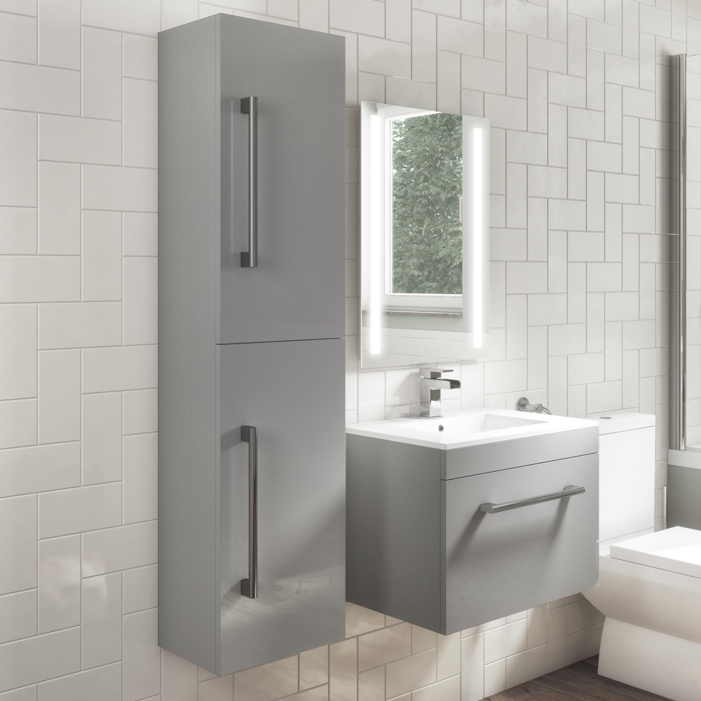 1400mm Wall Hung Tall Boy Bathroom Cabinet Grey Ashford Better Bathrooms