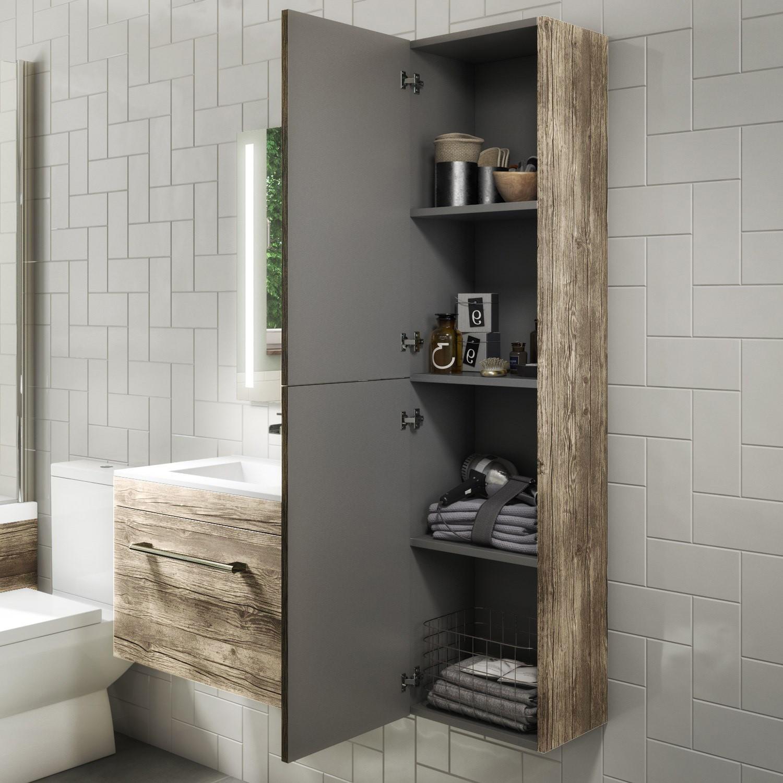 1400mm Wall Hung Tall Boy Bathroom Cabinet Grey Wood Effect Ashford Better Bathrooms