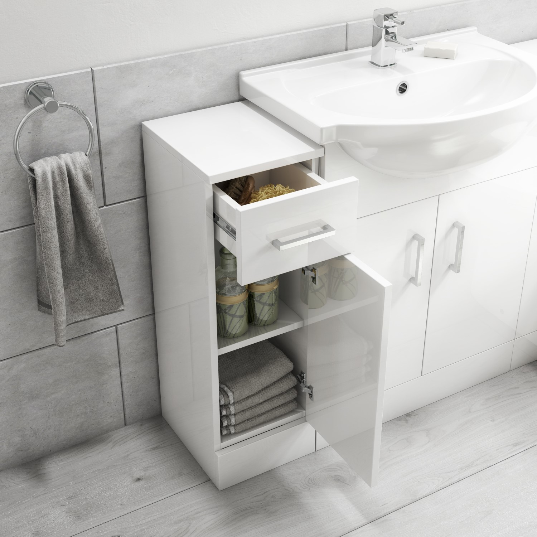 300mm Bathroom Storage Unit White