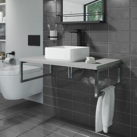 GRADE A2 - 800mm Vanity Shelf for Basin Concrete Effect - Lund