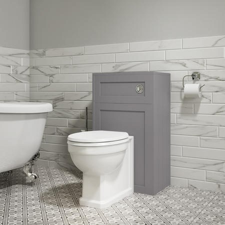 500mm WC Toilet Unit - Matt Grey - Traditional - Baxenden