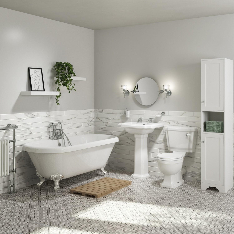 Traditional Tall Boy Bathroom Cabinet Doors Shelves Matt White Baxenden Better Bathrooms