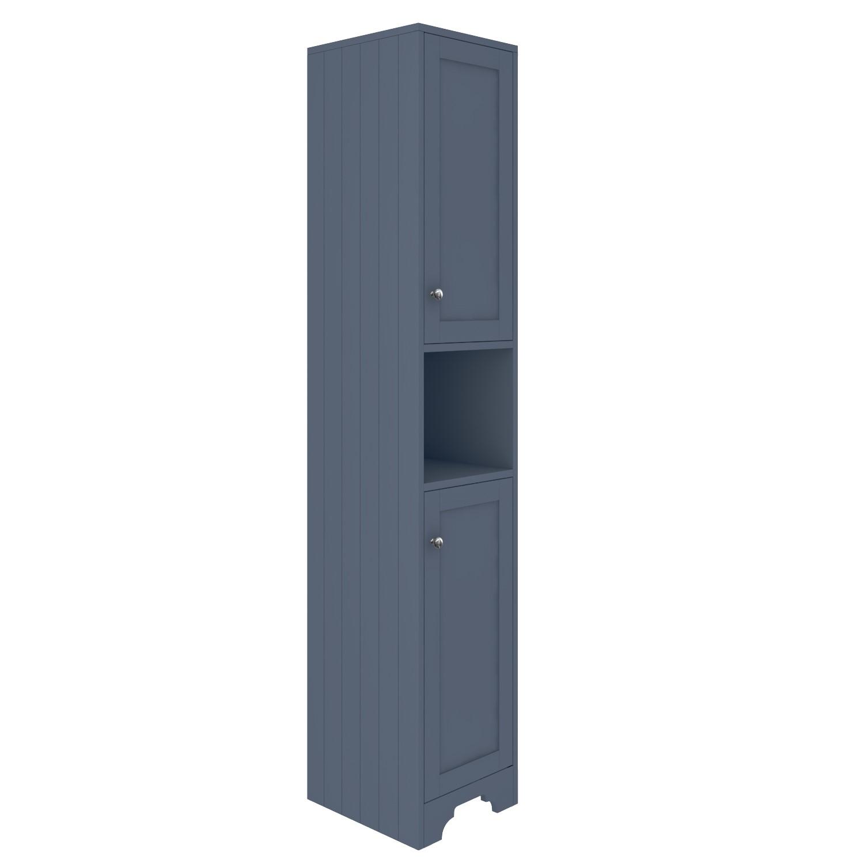 Traditional Tall Boy Bathroom Cabinet Doors Shelves Matt Blue Baxenden Better Bathrooms