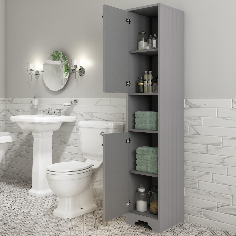 Traditional Tall Boy Bathroom Cabinet Doors Shelves Matt Grey Baxenden Better Bathrooms