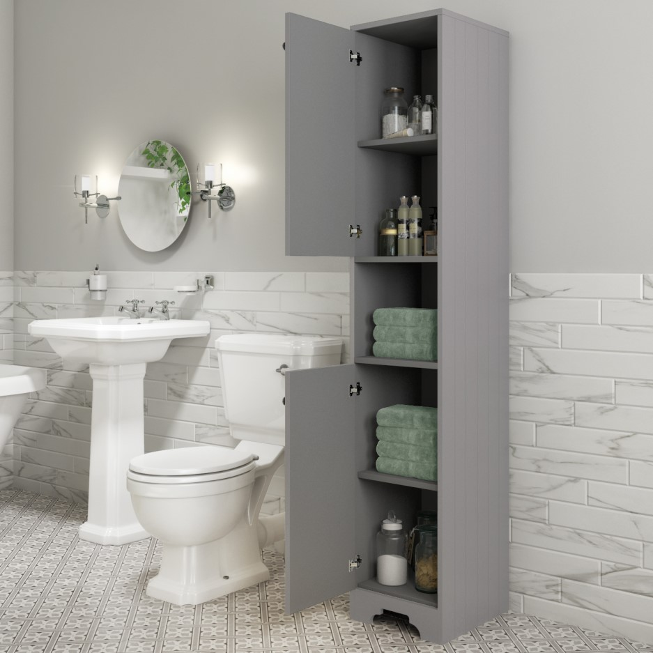 Traditional Tall Boy Bathroom Cabinet - Doors & Shelves ...
