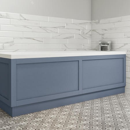1800 Single Ended Square Bath with Matt Blue Bath Front & End Panel