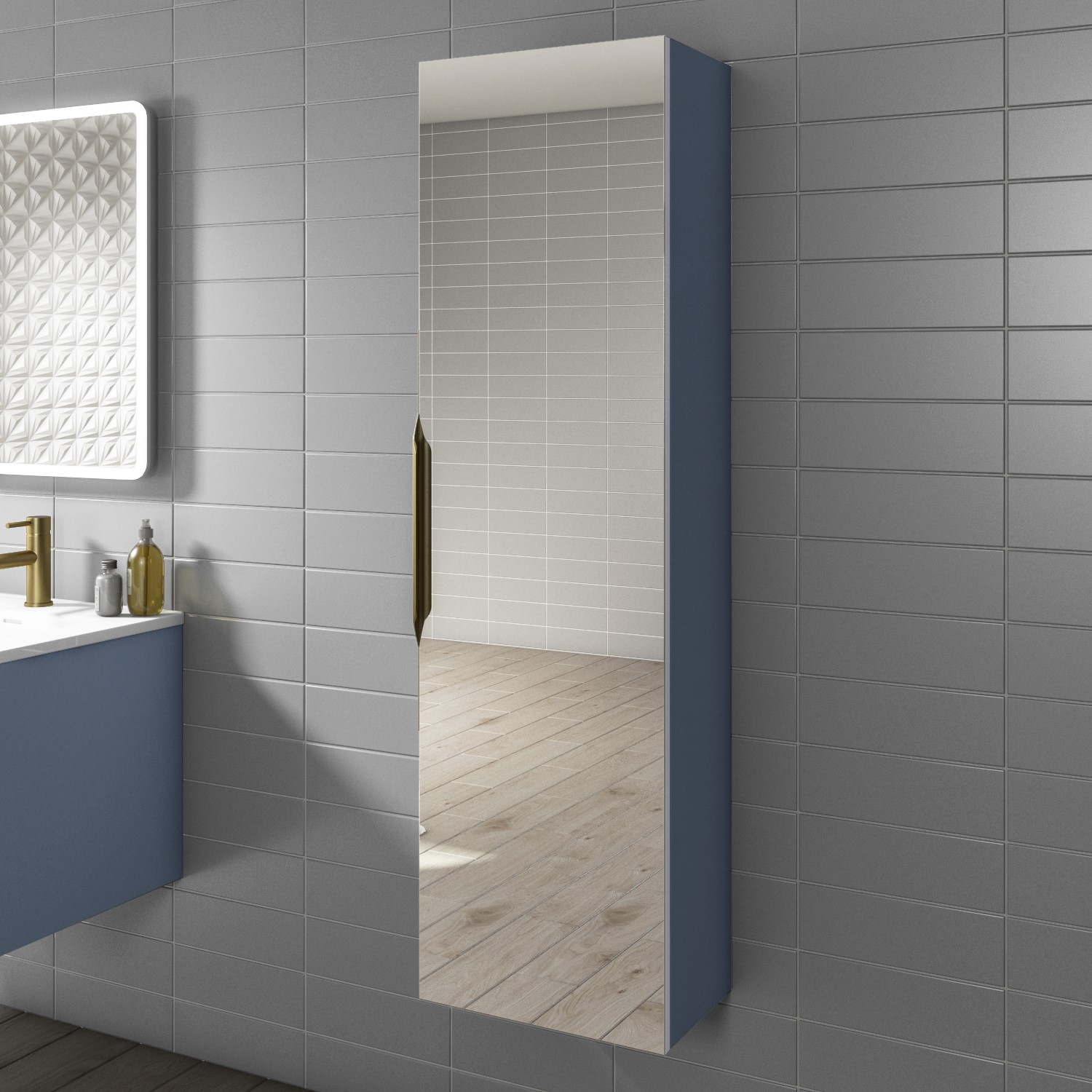 Blue Mirrored Wall Mounted Tallboy Bathroom Cabinet 1400 X 400 Mm Sion Better Bathrooms