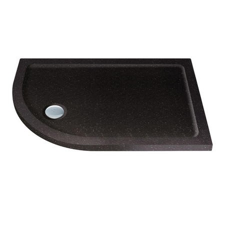 Slim Line Black Sparkle 900 x 760 Left Hand Offset Quadrant Shower Tray