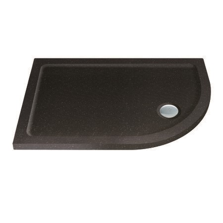 Slim Line Black Sparkle 1000 x 900 Right Hand Offset Quadrant Shower Tray