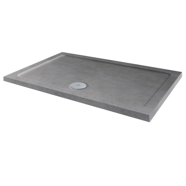 GRADE A2 - Slim Line Grey Sparkle 1000 x 800 Rectangular Shower Tray