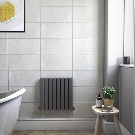 Single Panel Anthracite Horizontal Living Room Radiator - 600mm x 604mm