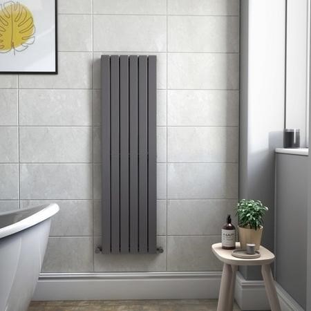 Single Panel Anthracite Vertical Living Room Radiator - 1600mm x 452mm