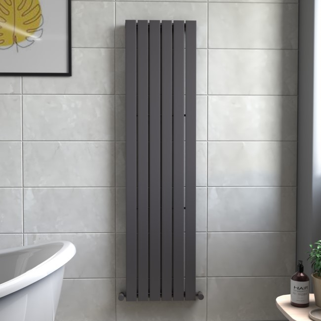 Mojave Anthracite Single Panel Vertical Radiator - 1800 x 452mm
