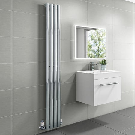 1600mm x 240mm Single Panel Chrome Vertical Radiator - Margo
