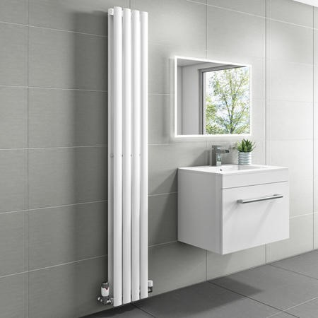 1600mm x 240mm Double Panel White Vertical Radiator - Margo