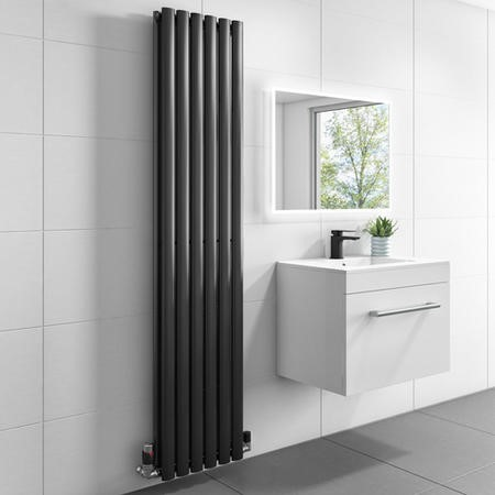 1600mm x 360mm Double Panel Anthracite Vertical Radiator - Margo