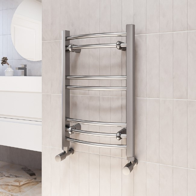 Gobi Chrome Heated Towel Rail - 600 x 400mm