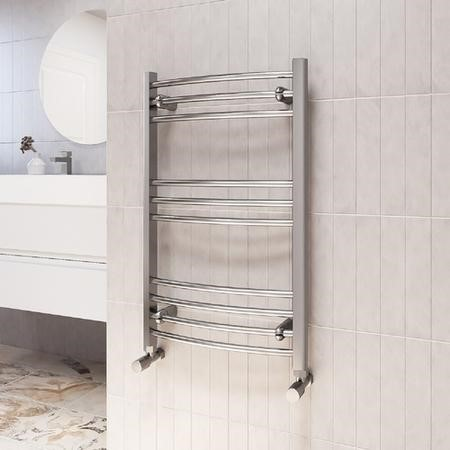 800mm x 500mm Curved Chrome Towel Rail - Gobi
