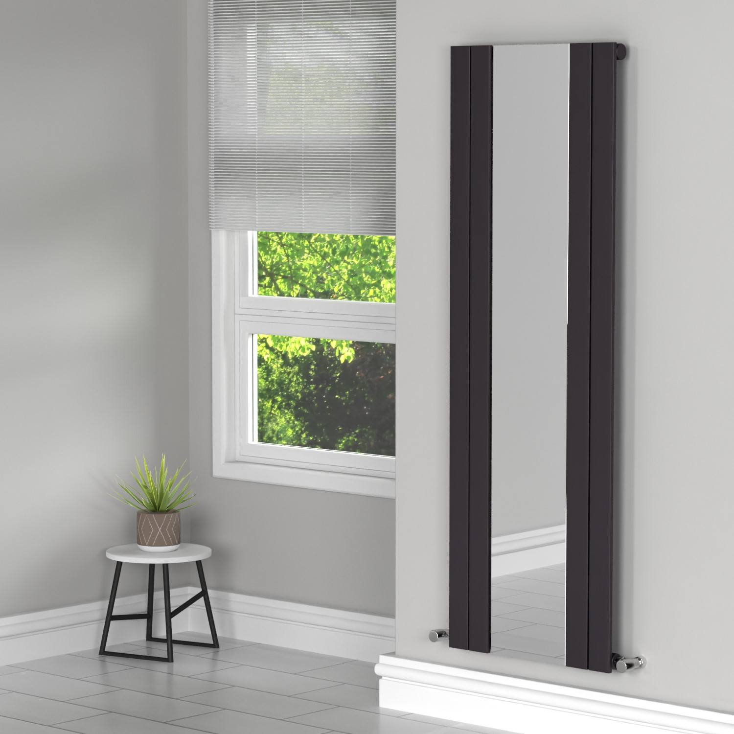 Tanami Anthracite Single Panel Vertical Radiator With Mirror 1800 X 600mm Better Bathrooms