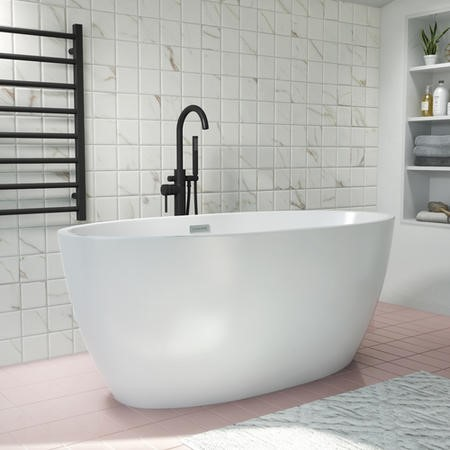 GRADE A1 - Alvor Matt White Oval Double Ended Freestanding Bath - 1500 x 720mm