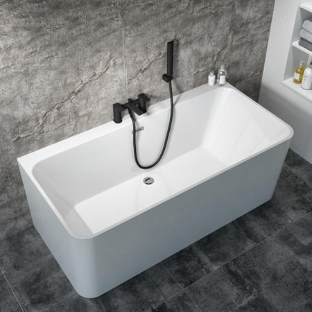 Oslo Slim Back to Wall Double Ended Freestanding Bath - 1700 x 740mm