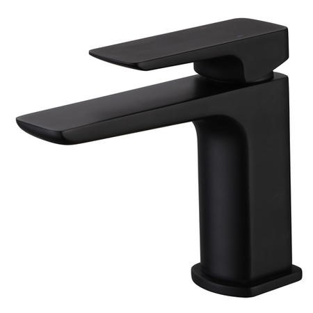 Zana Square Matt Black Mono Basin Mixer Tap