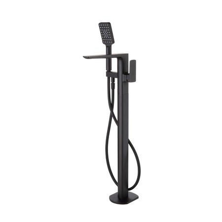 Zana Square Matt Black Freestanding Bath Shower Mixer Tap