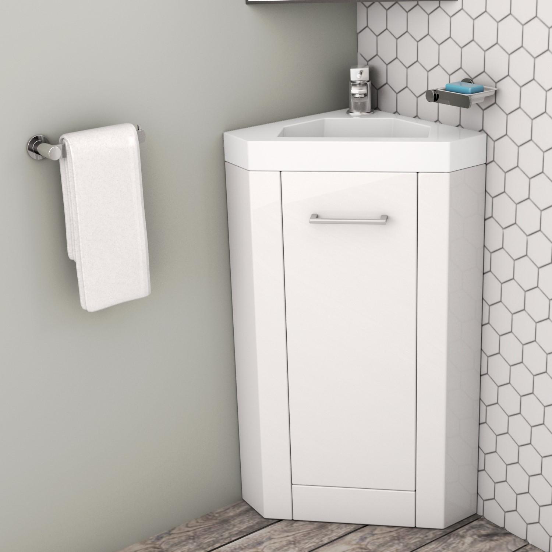 400mm Corner Vanity Unit With Basin Single Door White Apollo Better Bathrooms