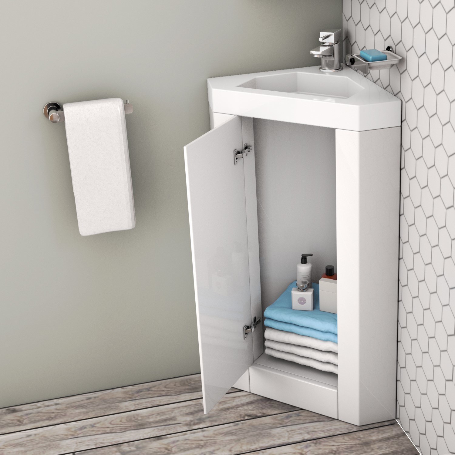 400mm White Freestanding Vanity Unit With Basin Apollo Better Bathrooms