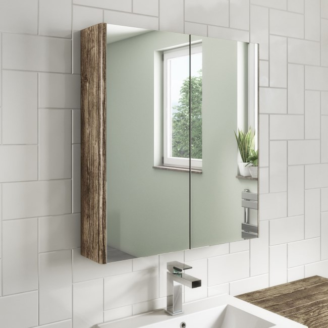 600mm Wall Hung Mirrored Bathroom Cabinet Grey Wood - Ashford