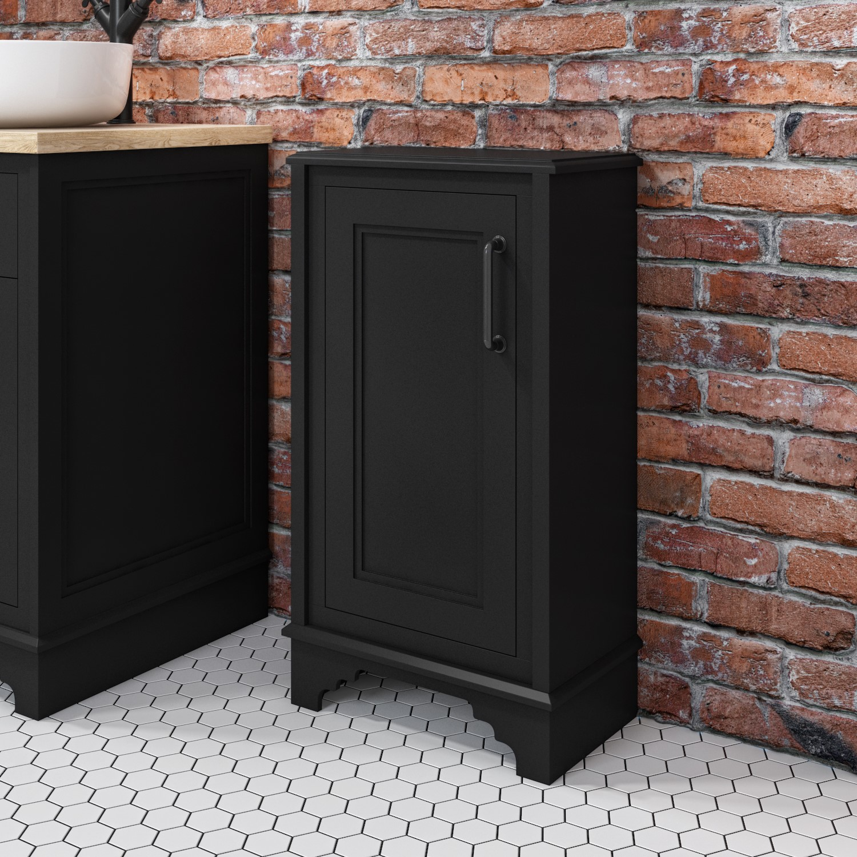 450mm Storage Cabinet Unit Matt Black, Black Bathroom Space Saver