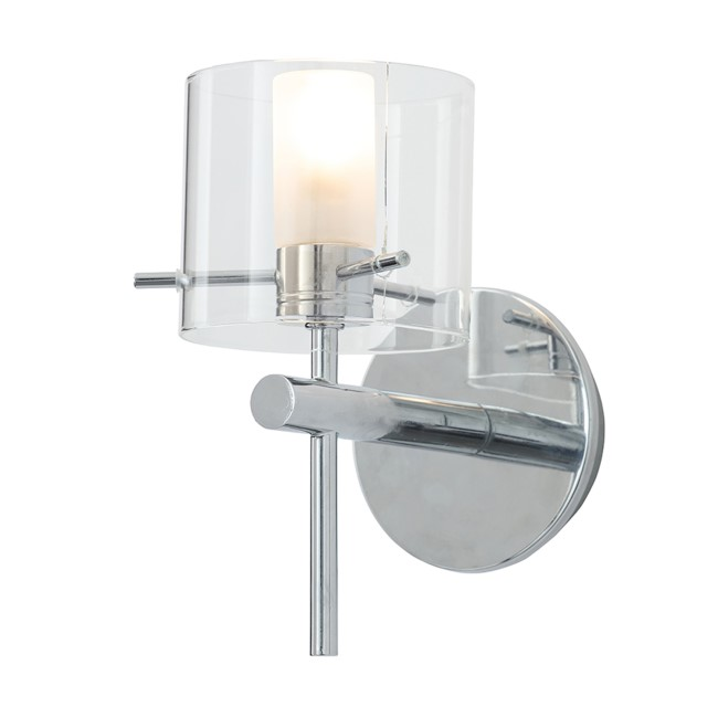 Baxenden Single Modern Round Wall Light with Clear Glass Shade