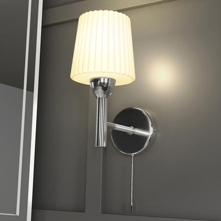 Aquarius Single Wall Light with Frosted Ribbed Glass Shade