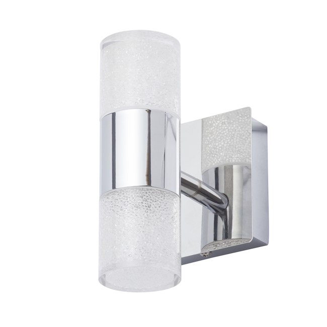 Oslo Single Chrome Crackle Effect Up/Down Wall Light