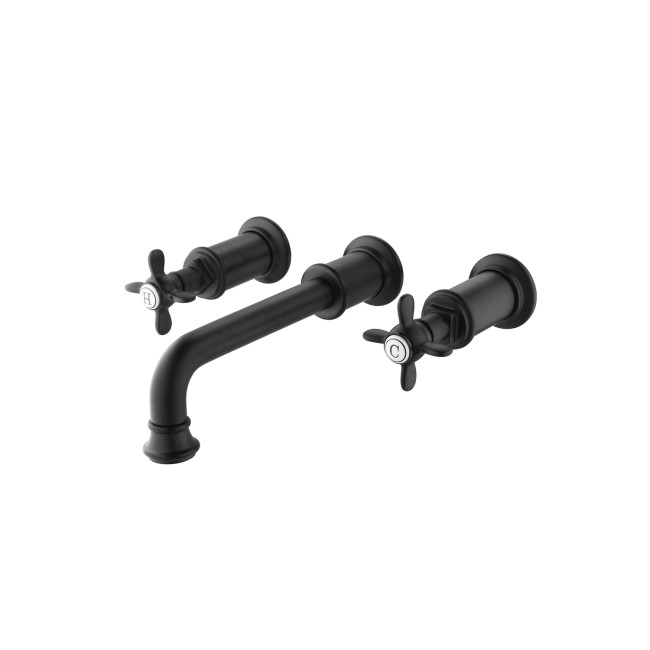 Matt Black Wall Mounted Basin Mixer Tap - Camden