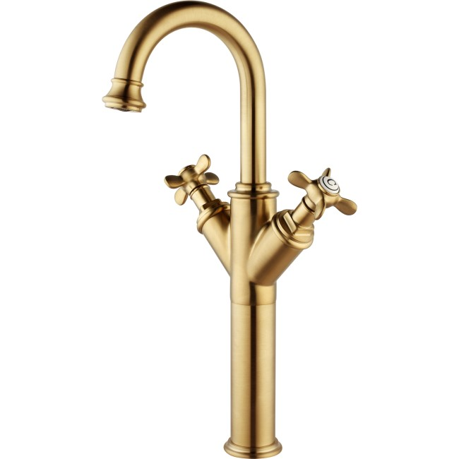 Camden Double Handle Tall Basin Mixer Tap - Brushed Brass