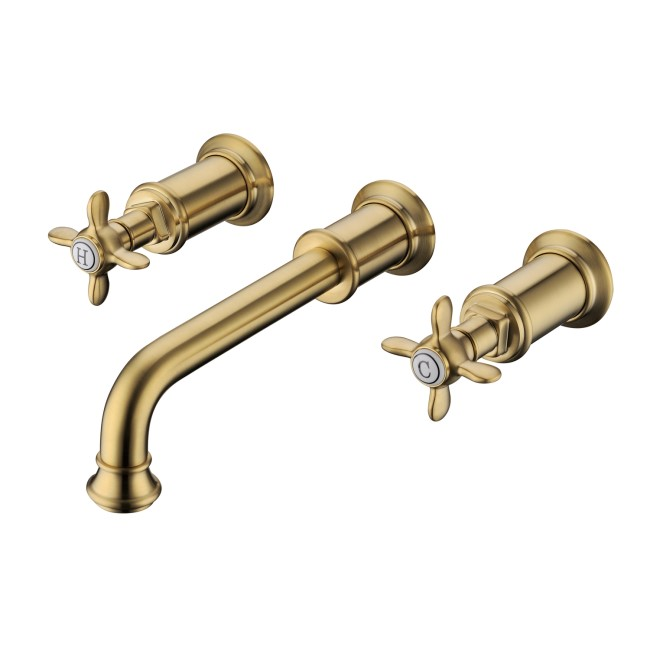 Wall Mounted Basin Mixer Tap Brushed Brass - Camden